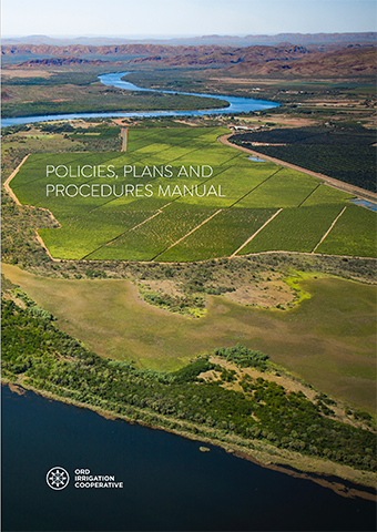 Cover design for Ord Irrigation Cooperative; Policies, Plans and Procedures Manual.
