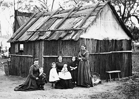 'Fair Delinquents – Irish Famine Orphans of Colonial Bathurst and Beyond. Photograph of bark house, New South Wales, c. 1873.