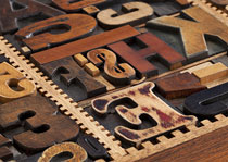 Old wooden typesetting characters