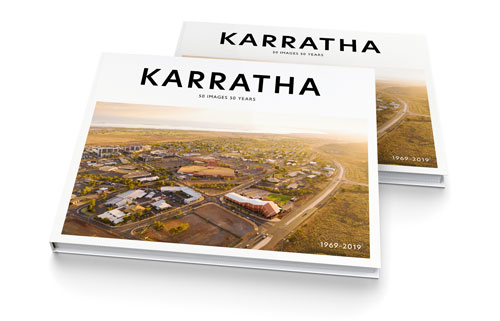 Image showing book cover design of Karratha: 50 Years 50 Images 1969–2019.