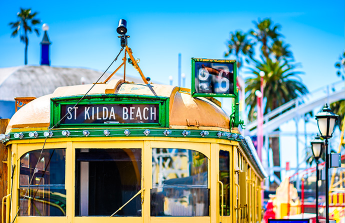 Photo of the top of a Melbourne tram going to St Kilda beach.