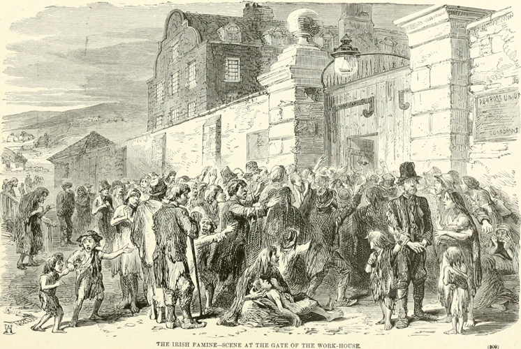 Artowrk showing a scene at the gate of the workhouse, c. 1846, during the Great Irish Famine.