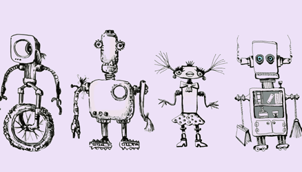 Illustration of four different hand drawn robots representing the idea of branding.