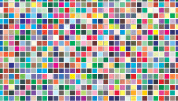 An orderly pattern of small, different colour, squares to represent the idea of colour management.