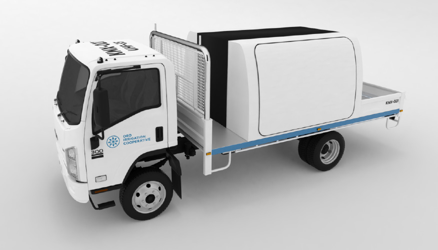 Illustration of a truck with branding to represent the idea of illustration services for business.