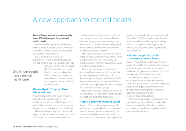South Eastern Melbourne Primary Network (SEMPHN) Annual Report 2018. Page 10 focusing on mental health.