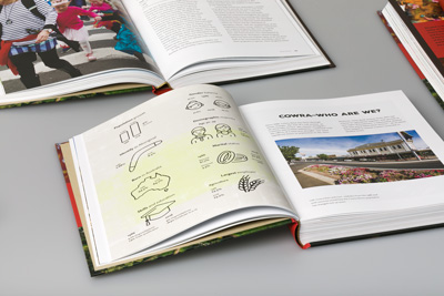 Photograph of open books showing the layout design and infographics.