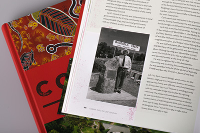 Photograph of page 106 showing colour texture used as a design element.