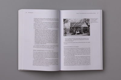 Page spread with picture showing black and white photograph of women and children in front of a bark house.