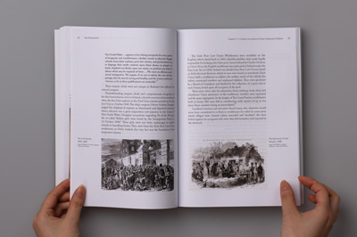 Page layout showing illustrations of The Irish Famine, 1845–1849.