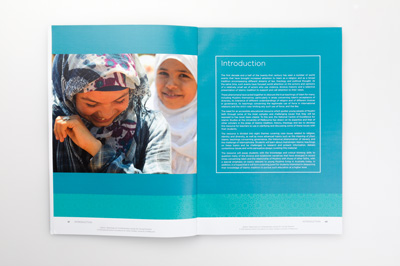 Page spread showing an introduction to the activity book. The pages show a cultural image, colour graphics and introduction text.