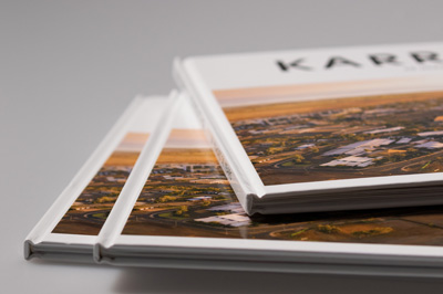 Close up of three casebound books showing details of cover design and spine.