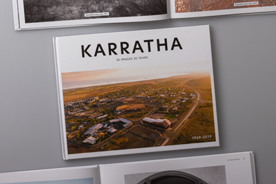 Cover design showing aerial photo of Karratha, 2019.