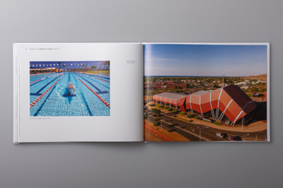 Double-page spread showing Karratha Leisureplex and the Red Earth Arts Precinct.