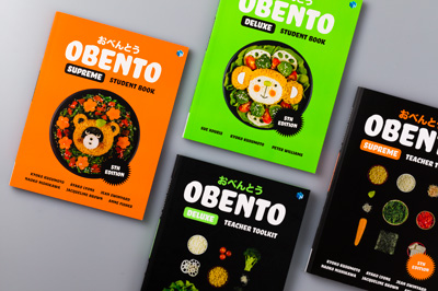 Photo showing cover design for Obento 5th Edition student books and teacher toolkits.