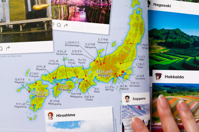 Photo of student book held open to show a page spread with map and photos of a destination shown in social media style boxes.