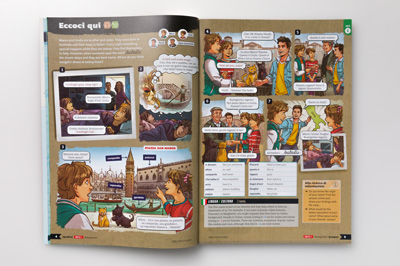Photograph of student book page spread from Unit 1, showing cartoon strip.