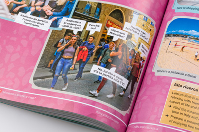 Photograph of a student book page showing design detail.