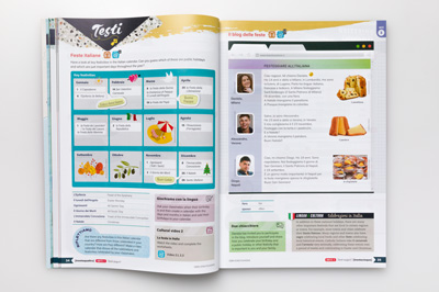 Photo of a page spread showing the layout design that includes a mockup calendar and email.