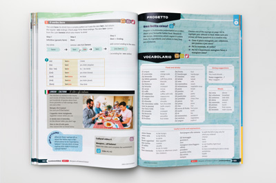 Photograph of a page spread showing typesetting of vocabulary at the end of a unit.