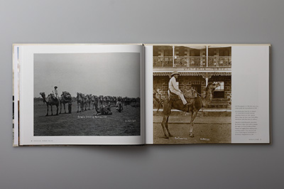 Double-page spread showing camel used for transport and in Roebourne before industrialisation.