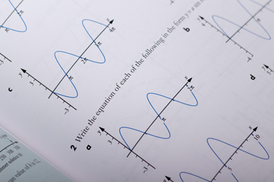 Close up of an exercise section with multiple sine graphs arranged on a page.