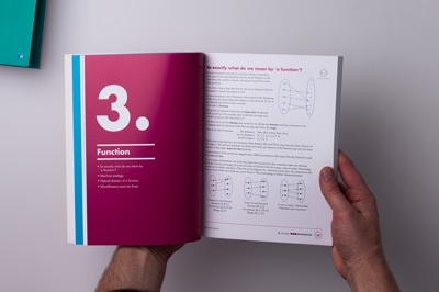 A designer holding the maths book open, showing the opening page spread of chapter 3. The left page is a rich burgundy colour and displays a large number 3.