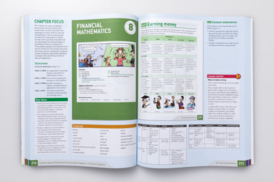 Photo of a teacher companion book, open to show a double page spread, displaying corresponding student book pages and teacher notes.